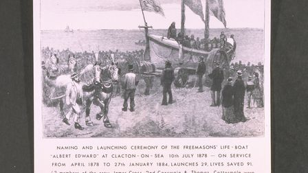 Clacton on Sea RNLI's Self Righter, Albert Edward in a drawing of the naming and launching ceremony