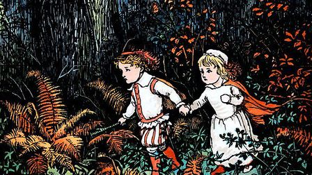 These pretty babes, with hand in hand, went wandering up and down (Babes in the Wood illustrated by