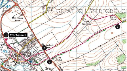 A map of the Great Chesterford walk (© Crown copyright 2020 Ordnance Survey. Media 003/20)