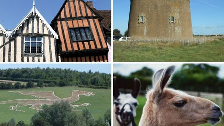 Unusual places in Suffolk to visit (photos clockwise from top left: Lavenham buildings, Getty Images