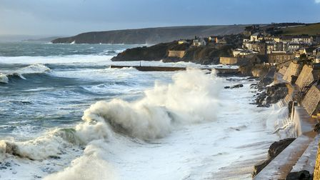 The sea wall at Porthleven has the effect of creating massive waves from only a relatively large swe