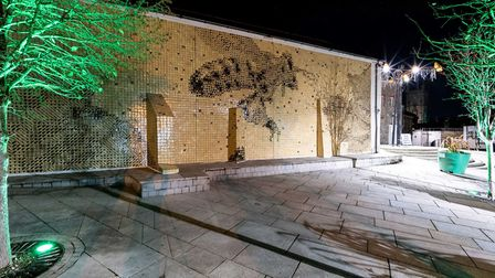 The Cornish Honeybee mural is made up of 11,000 handmade ceramic tiles from St Austell clay. Photo: