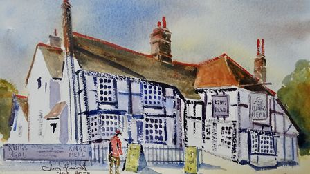 The King's Head, where James once gave a watercolour demonstration for the local WI (artwork: James