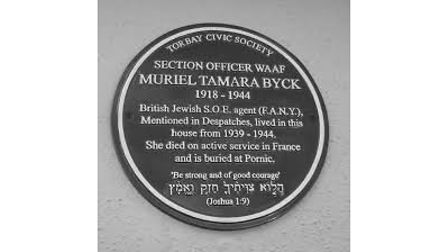 The Blue Plaque is still the only one in Torbay that carries Jewish words which when translated mean 'Be strong and of...