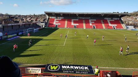 Stevenage in action at Exeter City in January 2021