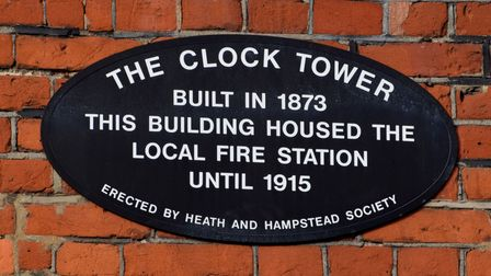 The Heath and Hampstead Society's plaque on the side of the former fire station