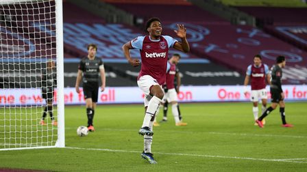 West Ham United's Oladapo Afolayan celebrates scoring his side's fourth goal against Doncaster