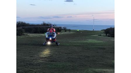 Helicopter on cliff top