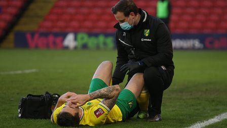Jordan Hugill departed in the second half of Norwich City's FA Cup trip to Barnsley with a suspected hamstring injury