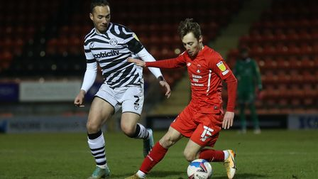 Dan Kemp of Leyton Orient and Kane Wilson of Forest Green Rovers during Leyton Orient vs Forest Gree