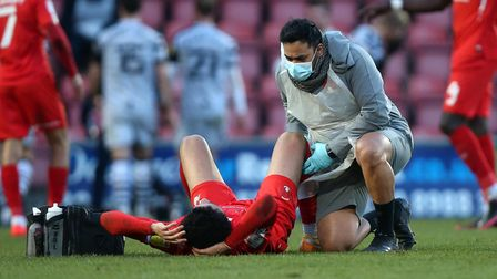 Injury concern for Lee Angol of Leyton Orient during Leyton Orient vs Forest Green Rovers, Sky Bet E