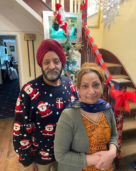 Mr Singh in a Christmas jumper at his home in Ipswich