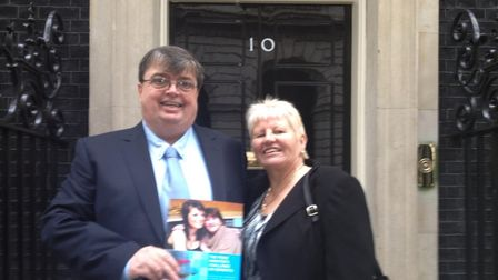 Purple Angel founder Norrms McNamara and Elaine at Number 10 Downing Street