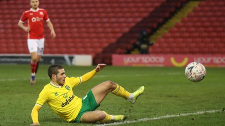 Emiliano Buendia of Norwich cannot convert a cross by Przemyslaw Placheta of Norwich during the FA C