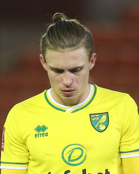 Przemyslaw Placheta of Norwich looks dejected at the end of the FA Cup match at Oakwell, BarnsleyP