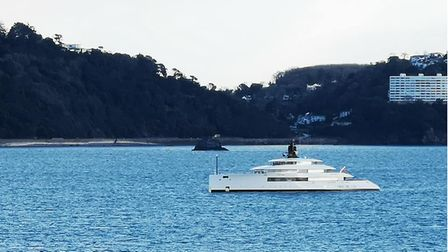 The superyacht Pi at anchor in Torbay