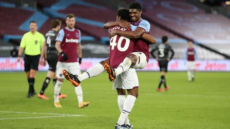West Ham United's Oladapo Afolayan celebrates scoring his side's fourth goal of the game with teamma