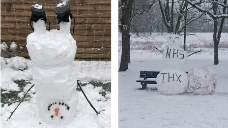 an upside down snowman in St Albans and an NHS-praising snowman in WGC