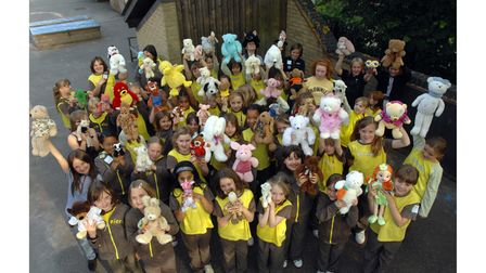 Brownies and Guides of the Westgate District, Ipswich, before their big sleepover at Ipswich Prep School, Anglesea Road in 2008