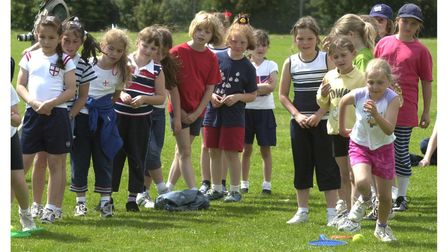 Brownies taking part in It's a Knockout at Deben High School, Felixstowe, in 2002