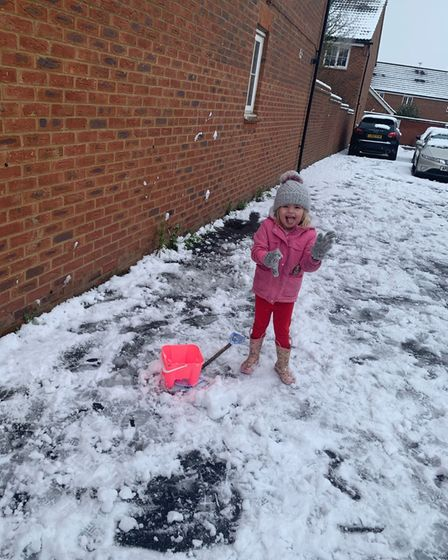 Five-year-old Everlyn had a blast making snow angels