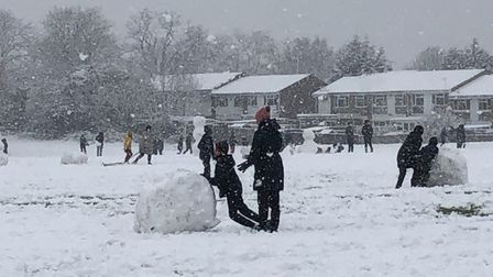 Snow fun in the Longacres area of St Albans