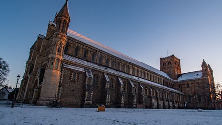 St Albans Cathedral was covered in a light dusting of snow after Sunday's snowfall