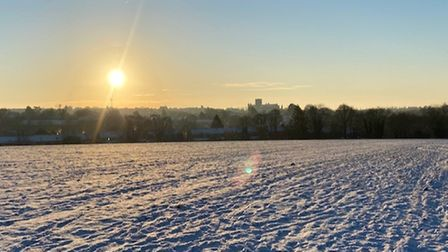 A beautiful and snowscape with St Albans Cathedral in the background