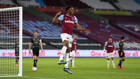 West Ham United's Oladapo Afolayan celebrates scoring his side's fourth goal of the game during the