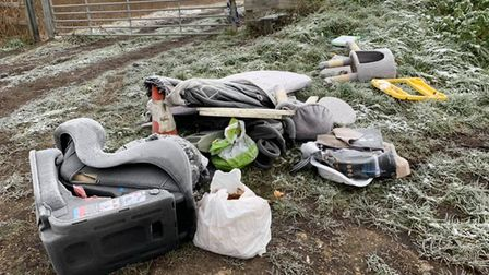 Fly tipping at Badgeney Road, in March.