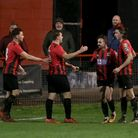 Saffron Walden Town FC celebrate a James Crane goal (second from right)