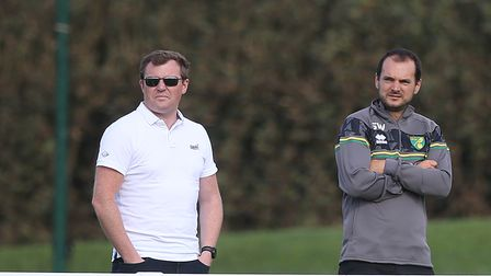 Norwich City Sporting Director Stuart Webber watches on with Neil Adams during the Pre-season friend