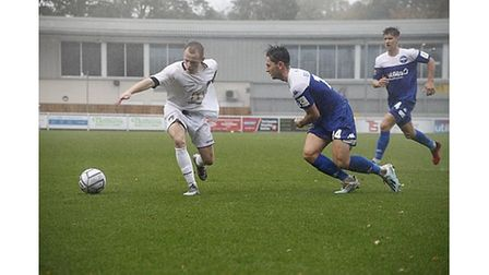James Waite in action for Weston at Eastleigh in the FA Cup