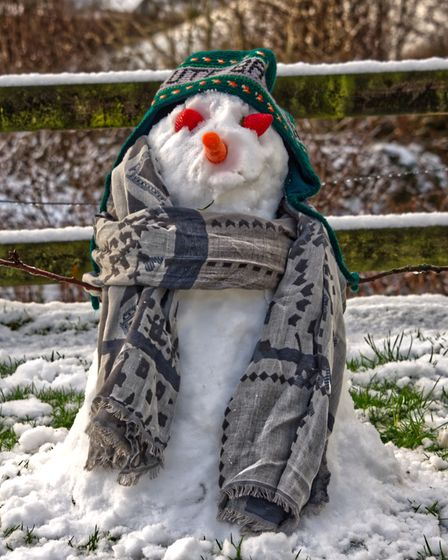 A snowman takes the brief opportunity to appear as North Devon enjoys a morning of snow