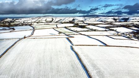 A snowy scene via drone in the East Down area