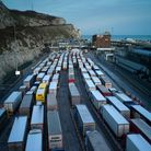 Freight queues at Dover port in Dover, England