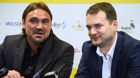 Stuart Webber and Daniel Farke on the day of Farke's appointment at Norwich City in May 2017