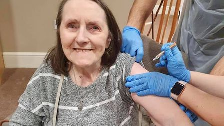 A resident at Ferrars Hall receiving their vaccine