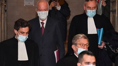 French former prime minister Edouard Balladur (second left) arrives for his trialat the Court of Justice of the Republic,...