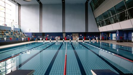 Swiss Cottage Leisure Centre's swimming pool, which is currently closed during lockdown