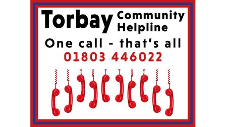 Torbay Community Helpline logo displaying the phone number and some telephones