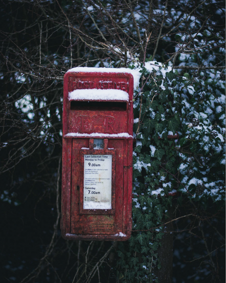 Post box in Elsenham with a touch of frost
