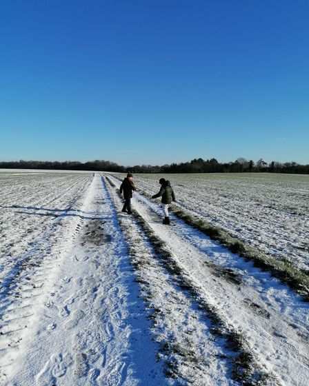 Residents walking in snowy and sunny Rickling Green