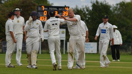 Eaton Socon celebrate a wicket from Jon Carpenter