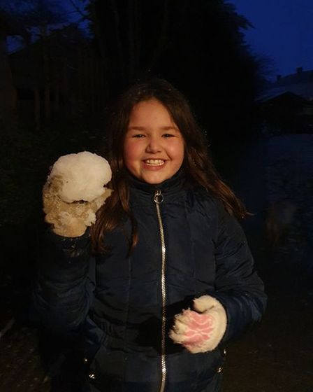 Bethany from Thaxted having a snowball fight