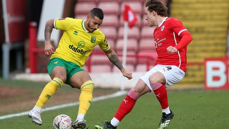 Callum Styles of Barnsley and Onel Hernandez of Norwich in action during the FA Cup match at Oakwell