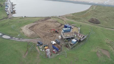 An aerial view of the extent of the work underway at Northam Burrows Visitor Centre