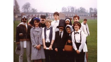 The 'Allo 'Allo themed It's a Knockout team at Chantry sixth form's Rag Week in 1988