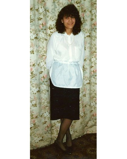 Nazima Abulkhairi dressed up as Michelle from 'Allo 'Allo for the 1988 Chantry sixth form Rag Week