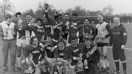 Herts Ad Sunday League 1989 Knockout Cup winners Central team photo
